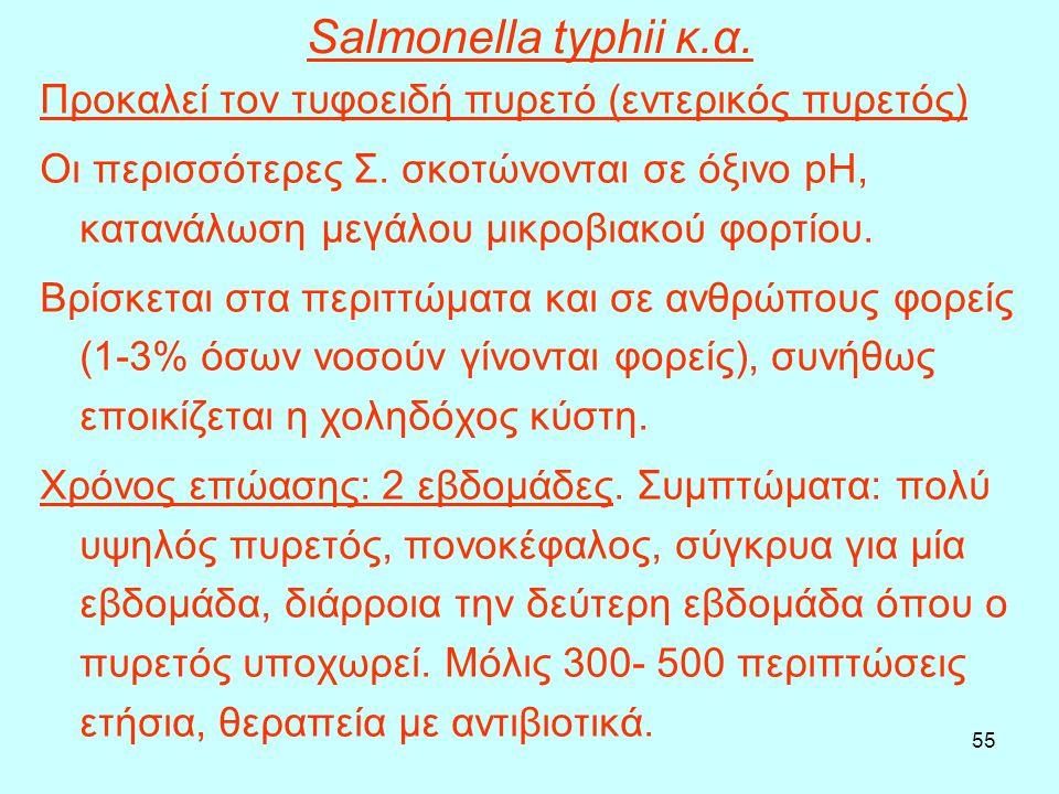 55 Salmonella typhii κ.α. Προκαλεί τον τυφοειδή πυρετό (εντερικός πυρετός) Οι περισσότερες Σ. σκοτώνονται σε όξινο pH, κατανάλωση μεγάλου μικροβιακού