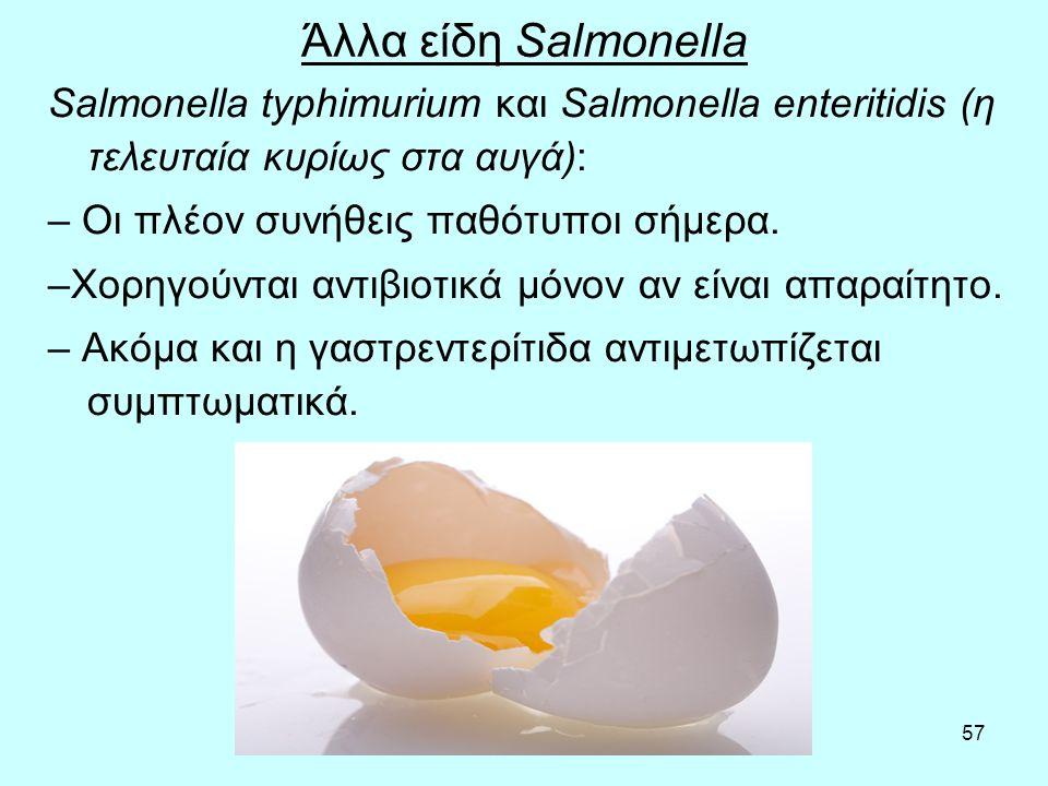 57 Άλλα είδη Salmonella Salmonella typhimurium και Salmonella enteritidis (η τελευταία κυρίως στα αυγά): – Οι πλέον συνήθεις παθότυποι σήμερα. –Χορηγο