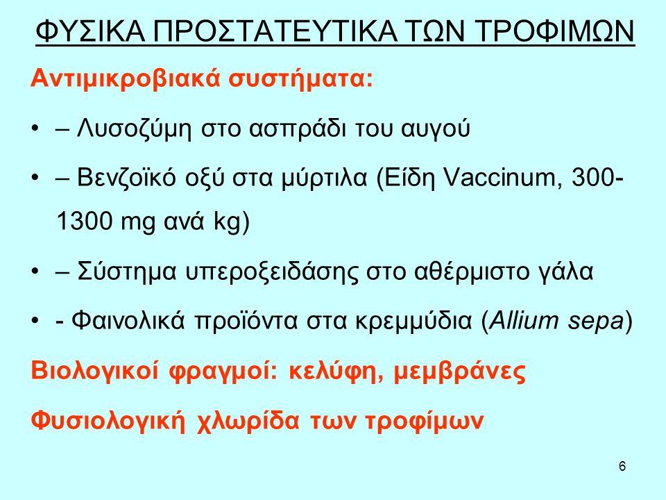 6 ΦΥΣΙΚΑ ΠΡΟΣΤΑΤΕΥΤΙΚΑ ΤΩΝ ΤΡΟΦΙΜΩΝ Αντιμικροβιακά συστήματα: – Λυσοζύμη στο ασπράδι του αυγού – Βενζοϊκό οξύ στα μύρτιλα (Είδη Vaccinum, 300- 1300 mg