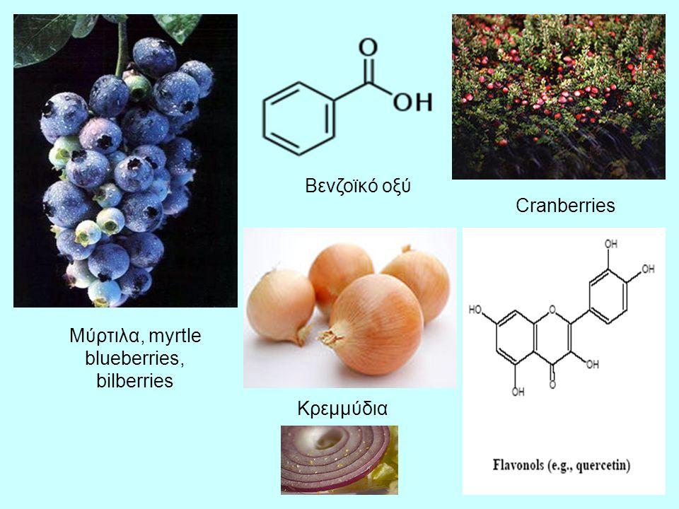 7 Μύρτιλα, myrtle blueberries, bilberries Βενζοϊκό οξύ Cranberries Κρεμμύδια