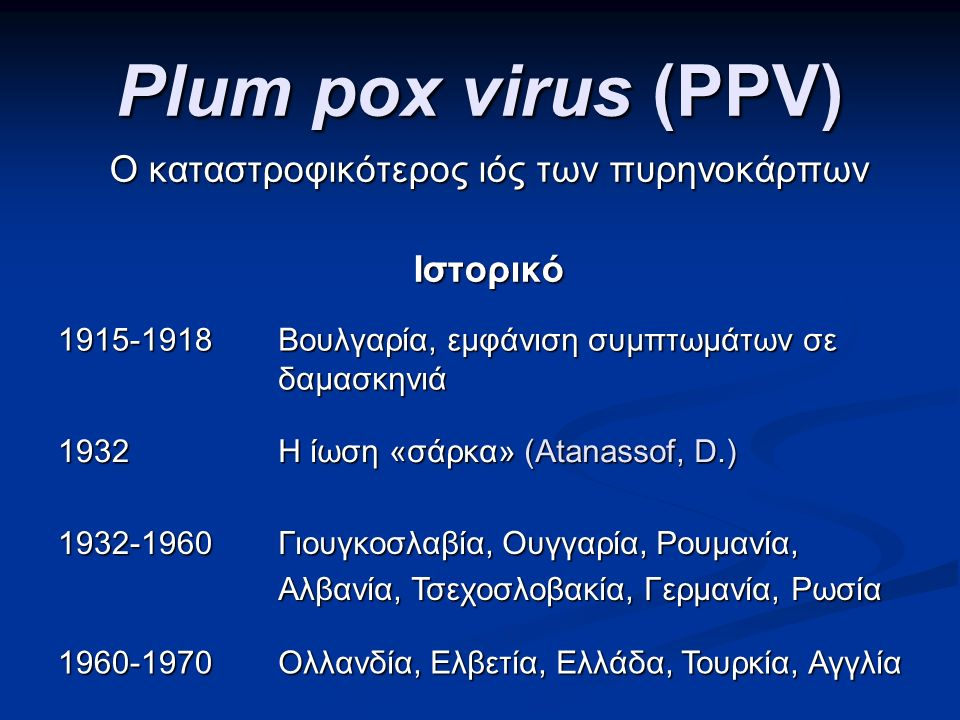 Plum pox virus (PPV) Ο καταστροφικότερος ιός των πυρηνοκάρπων Ιστορικό 1915-1918 Βουλγαρία, εμφάνιση συμπτωμάτων σε δαμασκηνιά 1932 Η ίωση «σάρκα» (Atanassof, D.) 1932-1960 Γιουγκοσλαβία, Ουγγαρία, Ρουμανία, Αλβανία, Τσεχοσλοβακία, Γερμανία, Ρωσία 1960-1970 Ολλανδία, Ελβετία, Ελλάδα, Τουρκία, Αγγλία