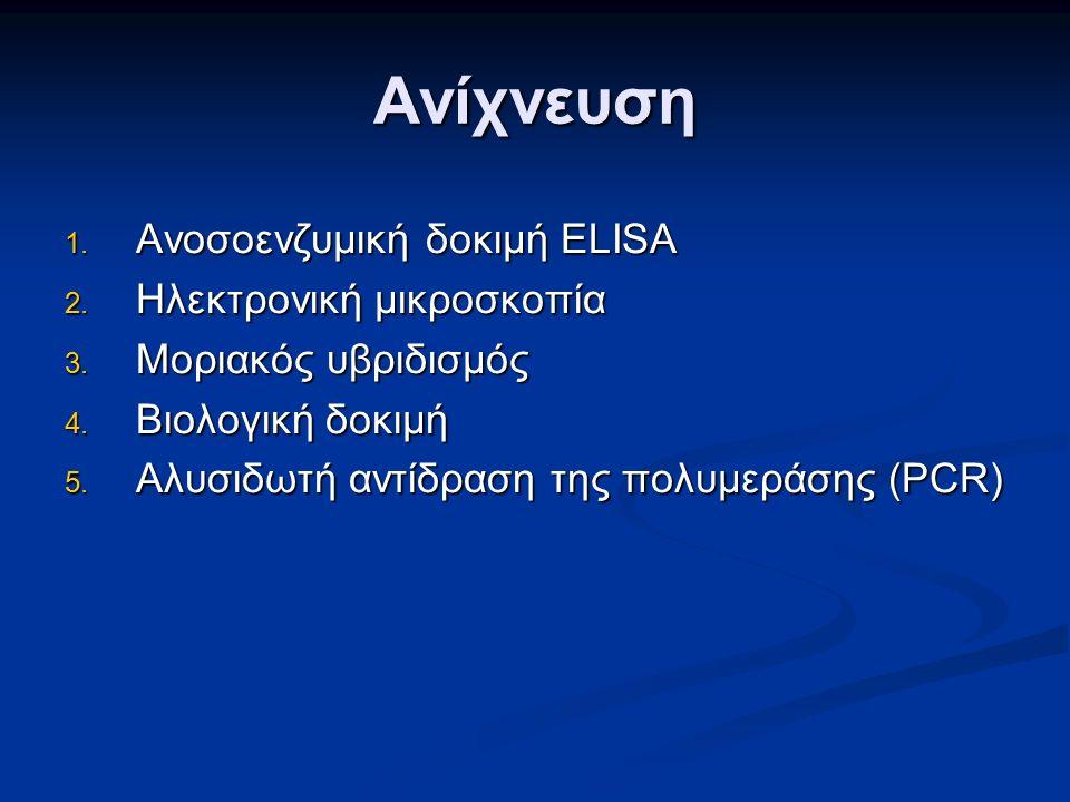 Ανίχνευση 1. Ανοσοενζυμική δοκιμή ELISA 2. Ηλεκτρονική μικροσκοπία 3.
