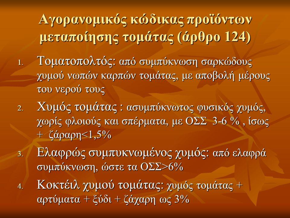 Αγορανομικός κώδικας προϊόντων μεταποίησης τομάτας (άρθρο 124) 1. Τοματοπολτός: από συμπύκνωση σαρκώδους χυμού νωπών καρπών τομάτας, με αποβολή μέρους