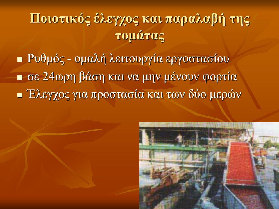 Ποιοτικός έλεγχος και παραλαβή της τομάτας Ρυθμός - ομαλή λειτουργία εργοστασίου Ρυθμός - ομαλή λειτουργία εργοστασίου σε 24ωρη βάση και να μην μένουν φορτία σε 24ωρη βάση και να μην μένουν φορτία Έλεγχος για προστασία και των δύο μερών Έλεγχος για προστασία και των δύο μερών