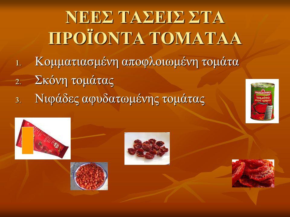 ΝΕΕΣ ΤΑΣΕΙΣ ΣΤΑ ΠΡΟΪΟΝΤΑ ΤΟΜΑΤΑΑ 1. Κομματιασμένη αποφλοιωμένη τομάτα 2. Σκόνη τομάτας 3. Νιφάδες αφυδατωμένης τομάτας