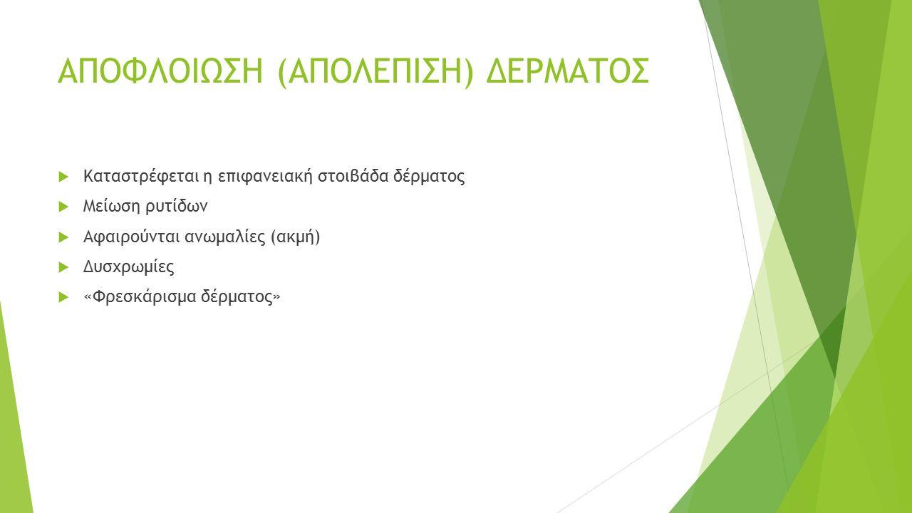 Επιφανειακά  Αλφα-υδροξυοξέα (AHA το γλυκολικό οξύ οξέα φρούτων γαλακτικό οξύ σαλικυλικό οξύ  τριχλωροξικό οξύ (TCA) (30%)