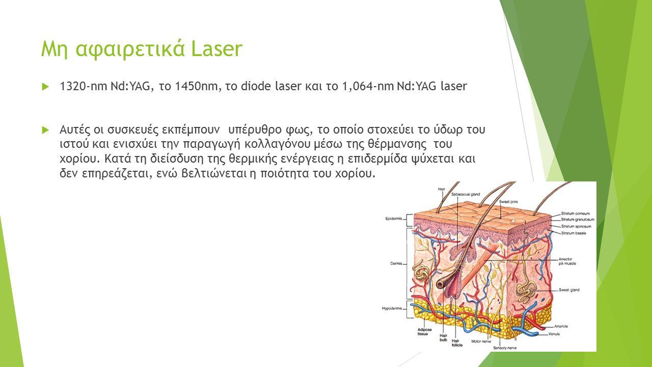 Μη αφαιρετικά Laser  1320-nm Nd:YAG, το 1450nm, το diode laser και το 1,064-nm Nd:YAG laser  Αυτές οι συσκευές εκπέμπουν υπέρυθρο φως, το οποίο στοχεύει το ύδωρ του ιστού και ενισχύει την παραγωγή κολλαγόνου μέσω της θέρμανσης του χορίου.