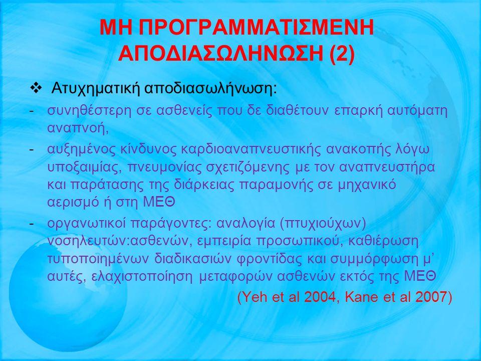 ΜΗ ΠΡΟΓΡΑΜΜΑΤΙΣΜΕΝΗ ΑΠΟΔΙΑΣΩΛΗΝΩΣΗ (2)  Ατυχηματική αποδιασωλήνωση: -συνηθέστερη σε ασθενείς που δε διαθέτουν επαρκή αυτόματη αναπνοή, -αυξημένος κίν