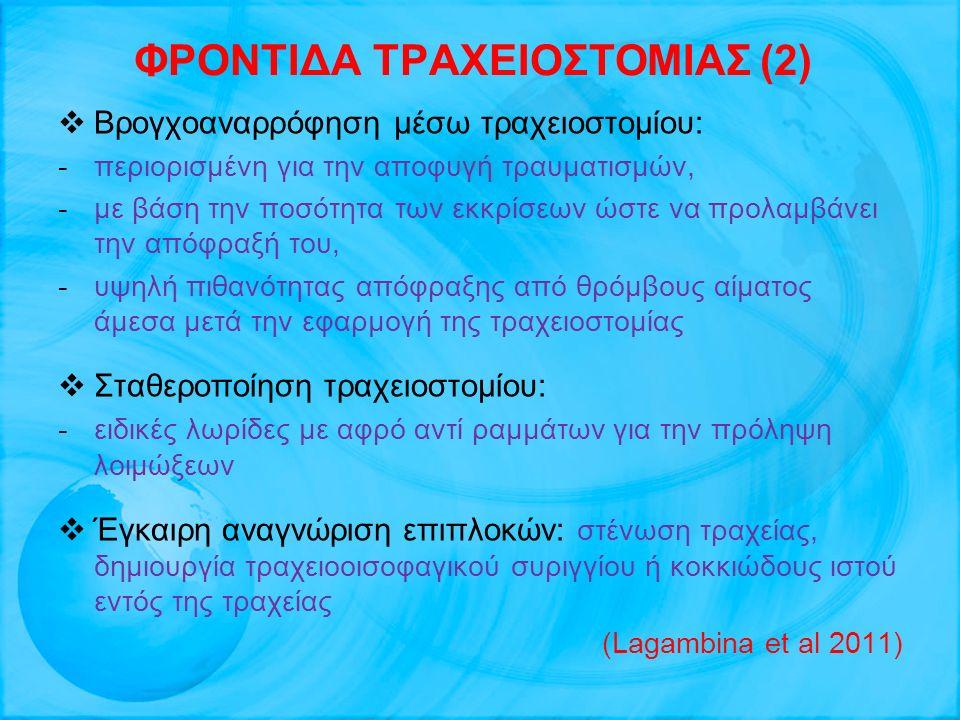 ΦΡΟΝΤΙΔΑ ΤΡΑΧΕΙΟΣΤΟΜΙΑΣ (2)  Βρογχοαναρρόφηση μέσω τραχειοστομίου: -περιορισμένη για την αποφυγή τραυματισμών, -με βάση την ποσότητα των εκκρίσεων ώσ