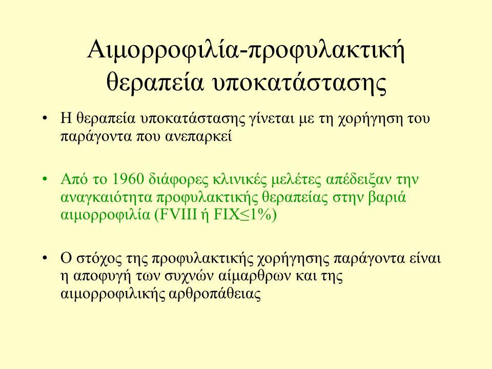 Αιμορροφιλία-προφυλακτική θεραπεία υποκατάστασης Η θεραπεία υποκατάστασης γίνεται με τη χορήγηση του παράγοντα που ανεπαρκεί Από το 1960 διάφορες κλινικές μελέτες απέδειξαν την αναγκαιότητα προφυλακτικής θεραπείας στην βαριά αιμορροφιλία (FVIII ή FIX≤1%) Ο στόχος της προφυλακτικής χορήγησης παράγοντα είναι η αποφυγή των συχνών αίμαρθρων και της αιμορροφιλικής αρθροπάθειας