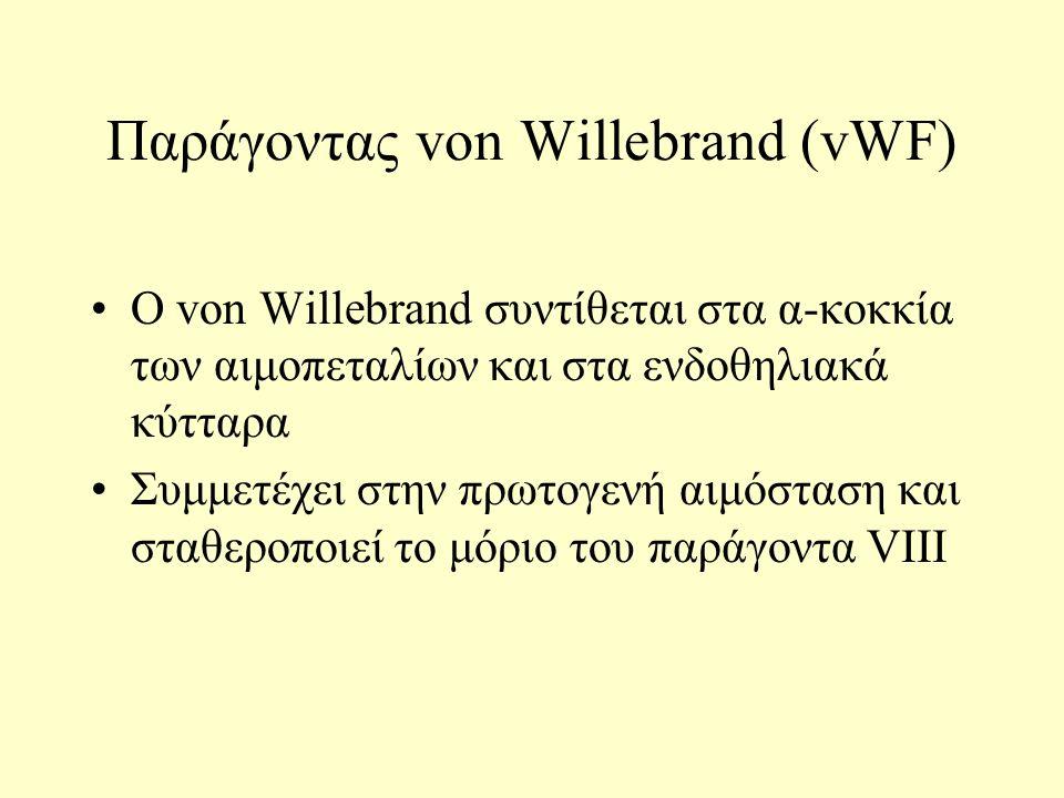 Παράγοντας von Willebrand (vWF) Ο von Willebrand συντίθεται στα α-κοκκία των αιμοπεταλίων και στα ενδοθηλιακά κύτταρα Συμμετέχει στην πρωτογενή αιμόστ