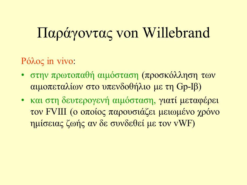 Παράγoντας von Willebrand Ρόλος in vivo: στην πρωτοπαθή αιμόσταση (προσκόλληση των αιμοπεταλίων στο υπενδοθήλιο με τη Gp-Iβ) και στη δευτερογενή αιμόσταση, γιατί μεταφέρει τον FVIII (ο οποίος παρουσιάζει μειωμένο χρόνο ημίσειας ζωής αν δε συνδεθεί με τον vWF)