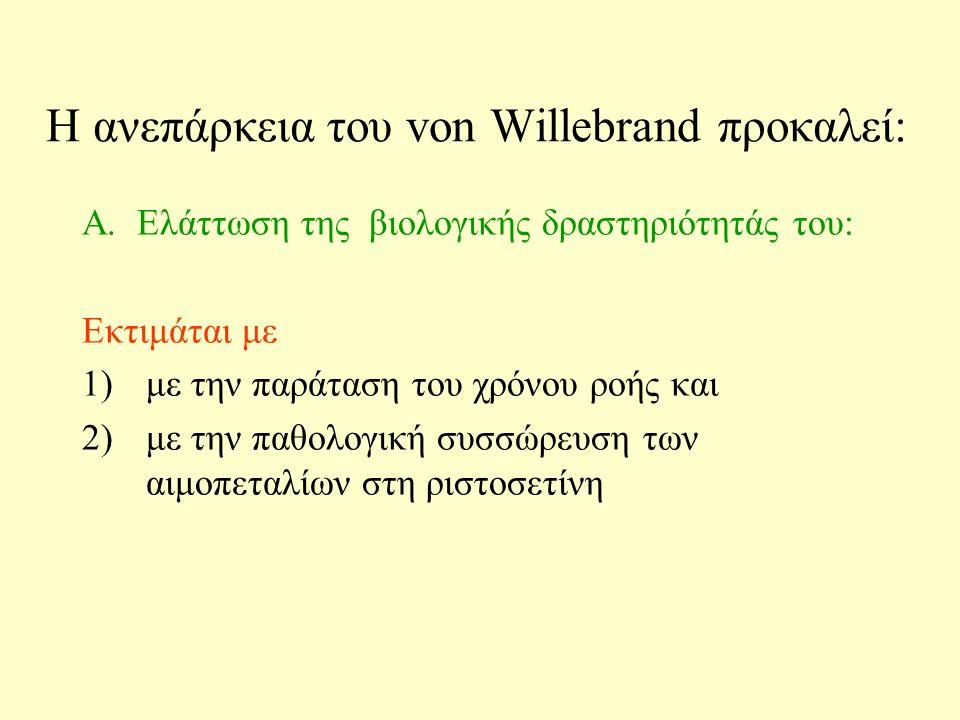 H ανεπάρκεια του von Willebrand προκαλεί: B.Ελάττωση της αντιγονικής δραστηριότητας του vWF Γ.