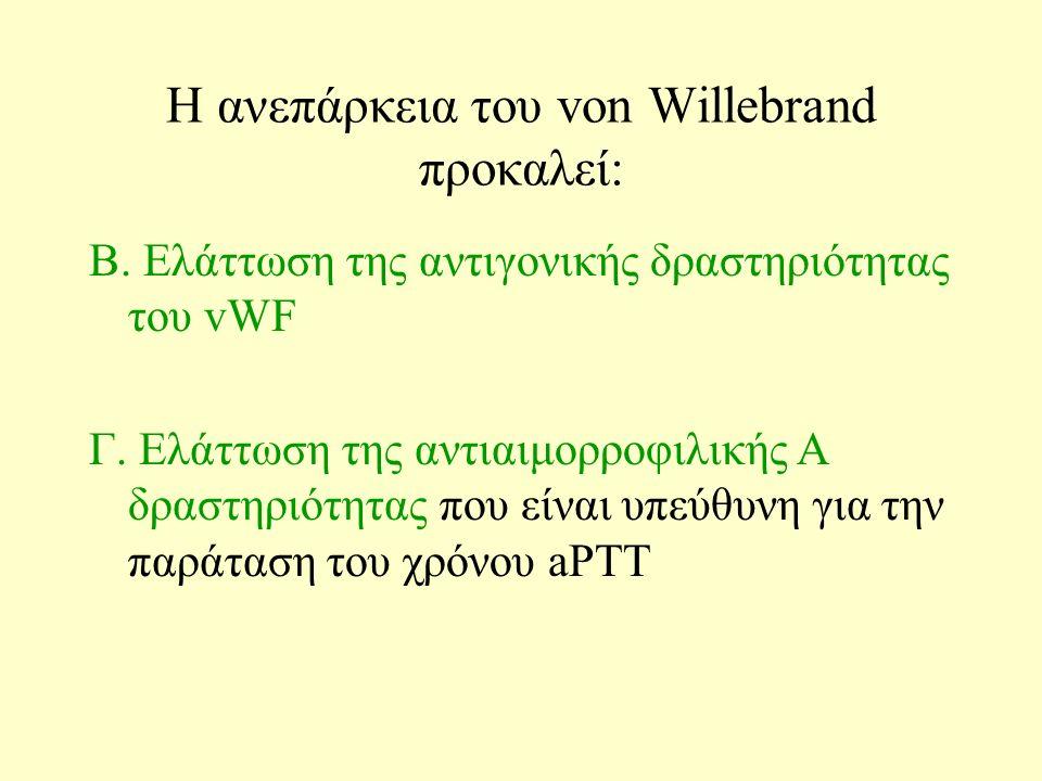 H ανεπάρκεια του von Willebrand προκαλεί: B. Ελάττωση της αντιγονικής δραστηριότητας του vWF Γ.