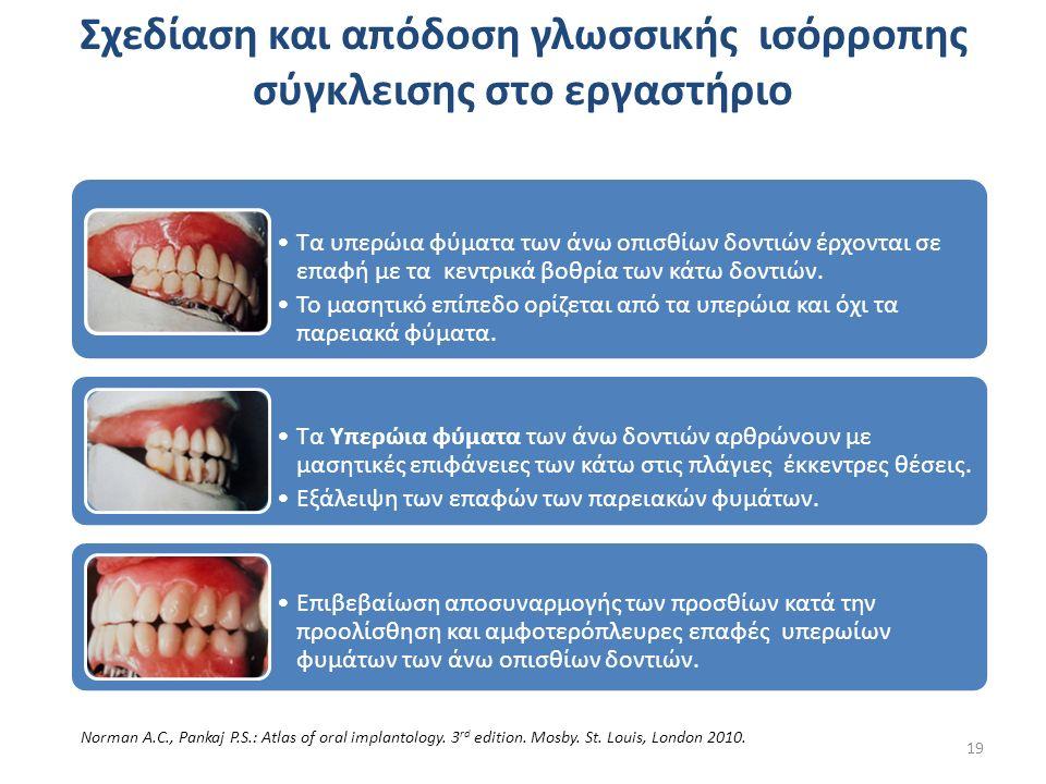 Τα υπερώια φύματα των άνω οπισθίων δοντιών έρχονται σε επαφή με τα κεντρικά βοθρία των κάτω δοντιών.
