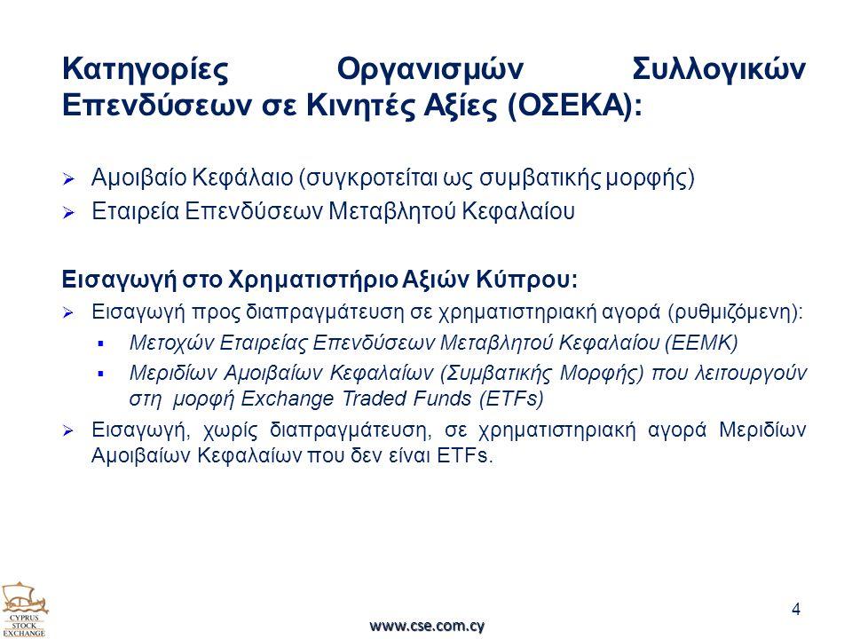 Κατηγορίες Οργανισμών Συλλογικών Επενδύσεων σε Κινητές Αξίες (ΟΣΕΚΑ):  Αμοιβαίο Κεφάλαιο (συγκροτείται ως συμβατικής μορφής)  Εταιρεία Επενδύσεων Μεταβλητού Κεφαλαίου Εισαγωγή στο Χρηματιστήριο Αξιών Κύπρου:  Εισαγωγή προς διαπραγμάτευση σε χρηματιστηριακή αγορά (ρυθμιζόμενη):  Μετοχών Εταιρείας Επενδύσεων Μεταβλητού Κεφαλαίου (ΕΕΜΚ)  Μεριδίων Αμοιβαίων Κεφαλαίων (Συμβατικής Μορφής) που λειτουργούν στη μορφή Exchange Traded Funds (ETFs)  Εισαγωγή, χωρίς διαπραγμάτευση, σε χρηματιστηριακή αγορά Μεριδίων Αμοιβαίων Κεφαλαίων που δεν είναι ETFs.