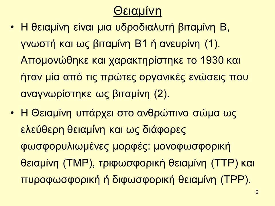 2 Θειαμίνη Η θειαμίνη είναι μια υδροδιαλυτή βιταμίνη Β, γνωστή και ως βιταμίνη Β1 ή ανευρίνη (1). Απομονώθηκε και χαρακτηρίστηκε το 1930 και ήταν μία