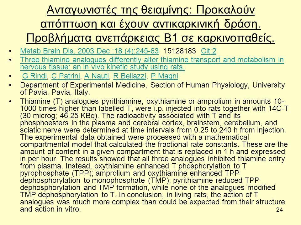24 Ανταγωνιστές της θειαμίνης: Προκαλούν απόπτωση και έχουν αντικαρκινική δράση. Προβλήματα ανεπάρκειας Β1 σε καρκινοπαθείς. Metab Brain Dis. 2003 Dec