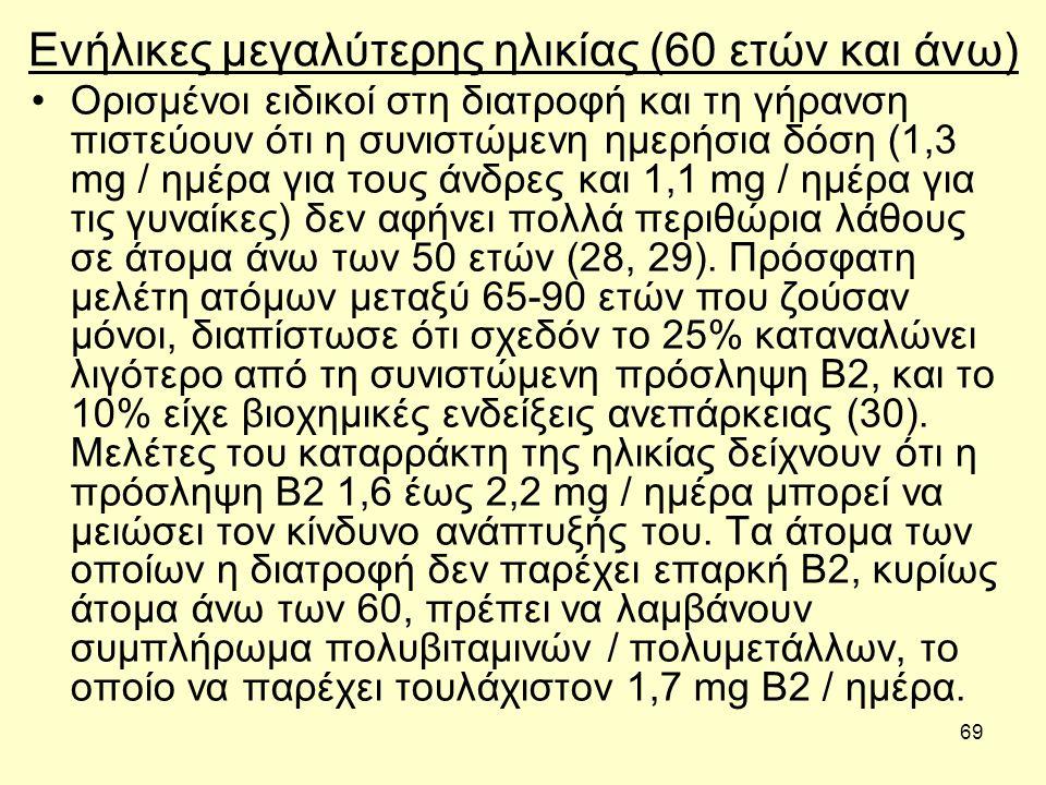 69 Ενήλικες μεγαλύτερης ηλικίας (60 ετών και άνω) Ορισμένοι ειδικοί στη διατροφή και τη γήρανση πιστεύουν ότι η συνιστώμενη ημερήσια δόση (1,3 mg / ημ