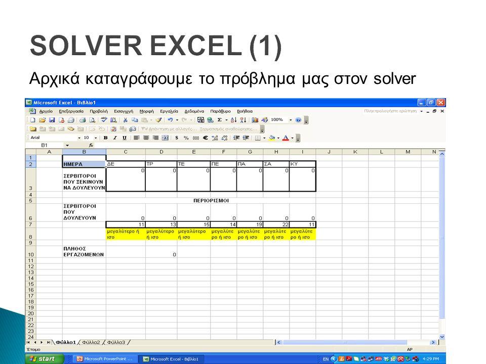 SOLVER EXCEL (1) Αρχικά καταγράφουμε το πρόβλημα μας στον solver