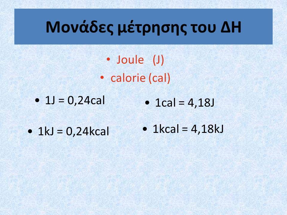 Μονάδες μέτρησης του ΔΗ Joule (J) calorie (cal) 1J = 0,24cal 1cal = 4,18J 1kJ = 0,24kcal 1kcal = 4,18kJ