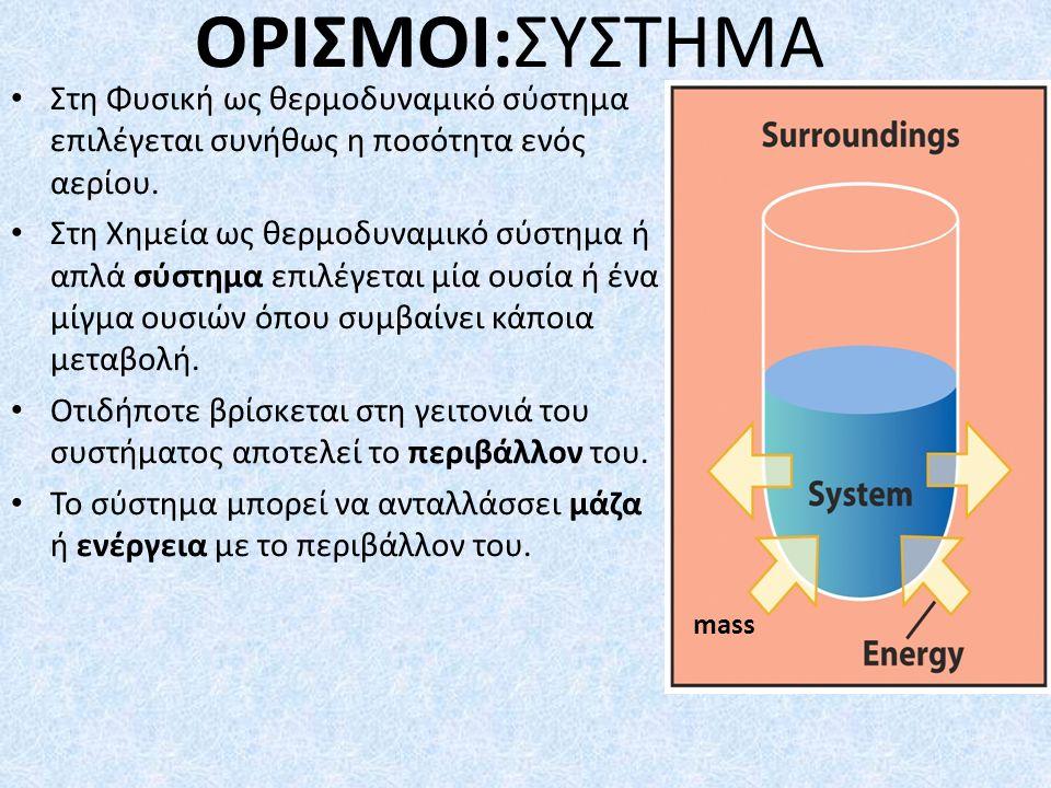 ΟΡΙΣΜΟΙ:ΣΥΣΤΗΜΑ Στη Φυσική ως θερμοδυναμικό σύστημα επιλέγεται συνήθως η ποσότητα ενός αερίου.