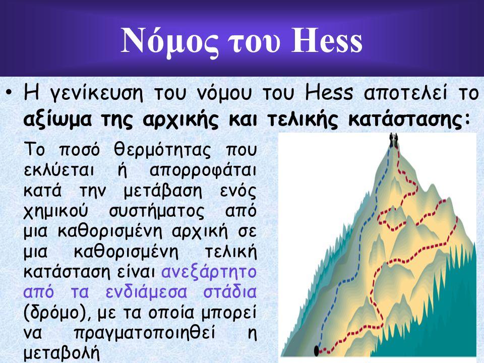 Η γενίκευση του νόμου του Hess αποτελεί το αξίωμα της αρχικής και τελικής κατάστασης: Το ποσό θερμότητας που εκλύεται ή απορροφάται κατά την μετάβαση ενός χημικού συστήματος από μια καθορισμένη αρχική σε μια καθορισμένη τελική κατάσταση είναι ανεξάρτητο από τα ενδιάμεσα στάδια (δρόμο), με τα οποία μπορεί να πραγματοποιηθεί η μεταβολή