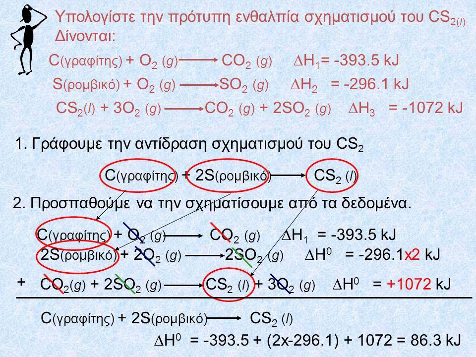 Υπολογίστε την πρότυπη ενθαλπία σχηματισμού του CS 2(l) Δίνονται: C (γραφίτης) + O 2 (g) CO 2 (g)  H 1 = -393.5 kJ S (ρομβικό) + O 2 (g) SO 2 (g)  H 2 = -296.1 kJ CS 2 (l) + 3O 2 (g) CO 2 (g) + 2SO 2 (g)  H 3 = -1072 kJ 1.