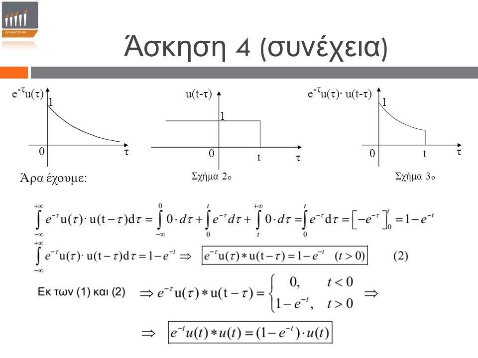 0 τ u(t-τ) t 1 τ0 e -τ u(τ) 1 τ 0 e -τ u(τ)· u(t-τ) 1 Σχήμα 3 ο Άρα έχουμε: Σχήμα 2 ο t