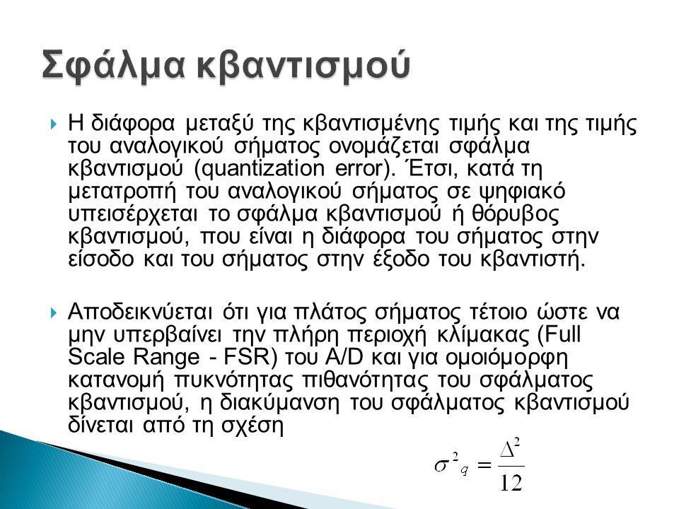  Η διάφορα μεταξύ της κβαντισμένης τιμής και της τιμής του αναλογικού σήματος ονομάζεται σφάλμα κβαντισμού (quantization error).