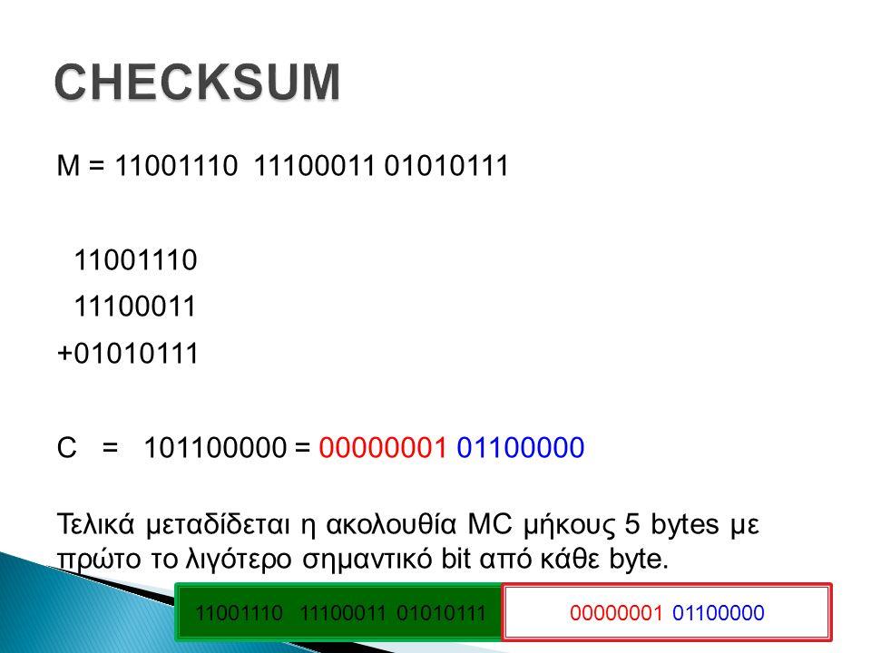 Μ = 11001110 11100011 01010111 11001110 11100011 +01010111 C = 101100000 = 00000001 01100000 Τελικά μεταδίδεται η ακολουθία MC μήκους 5 bytes με πρώτο το λιγότερο σημαντικό bit από κάθε byte.