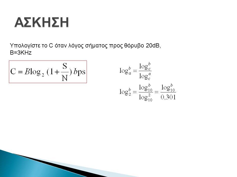 Υπολογίστε το C όταν λόγος σήματος προς θόρυβο 20dB, B=3KHz