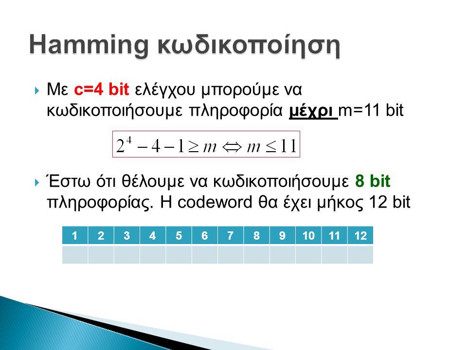  Με c=4 bit ελέγχου μπορούμε να κωδικοποιήσουμε πληροφορία μέχρι m=11 bit  Έστω ότι θέλουμε να κωδικοποιήσουμε 8 bit πληροφορίας.