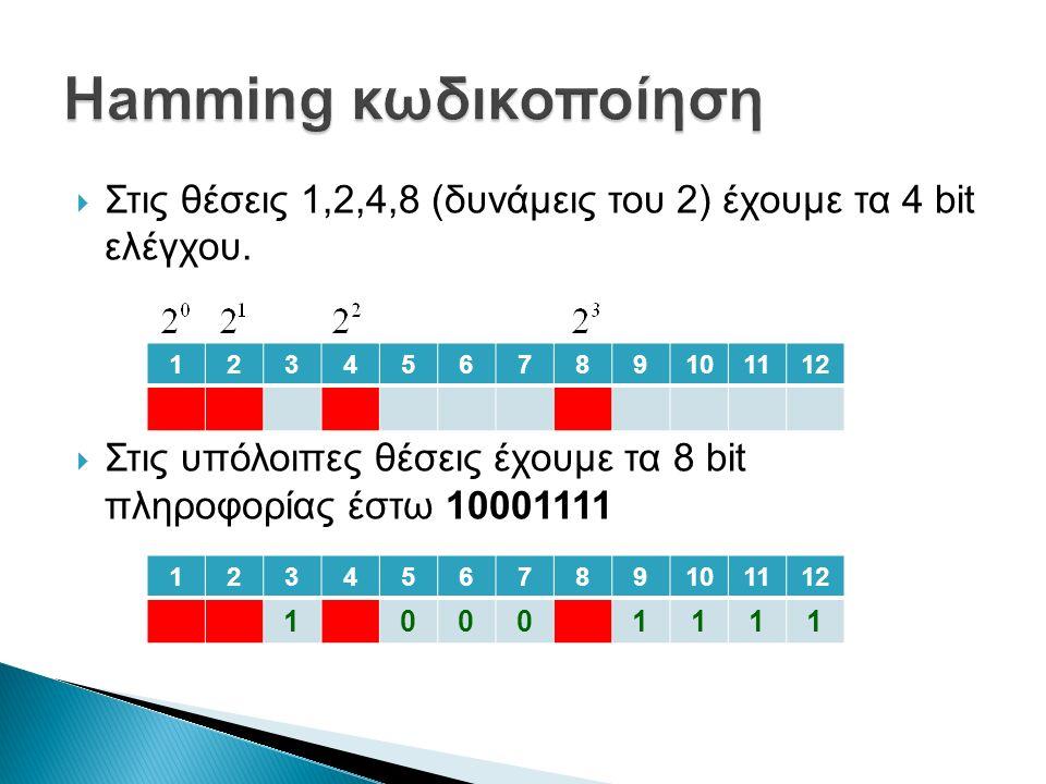  Στις θέσεις 1,2,4,8 (δυνάμεις του 2) έχουμε τα 4 bit ελέγχου.