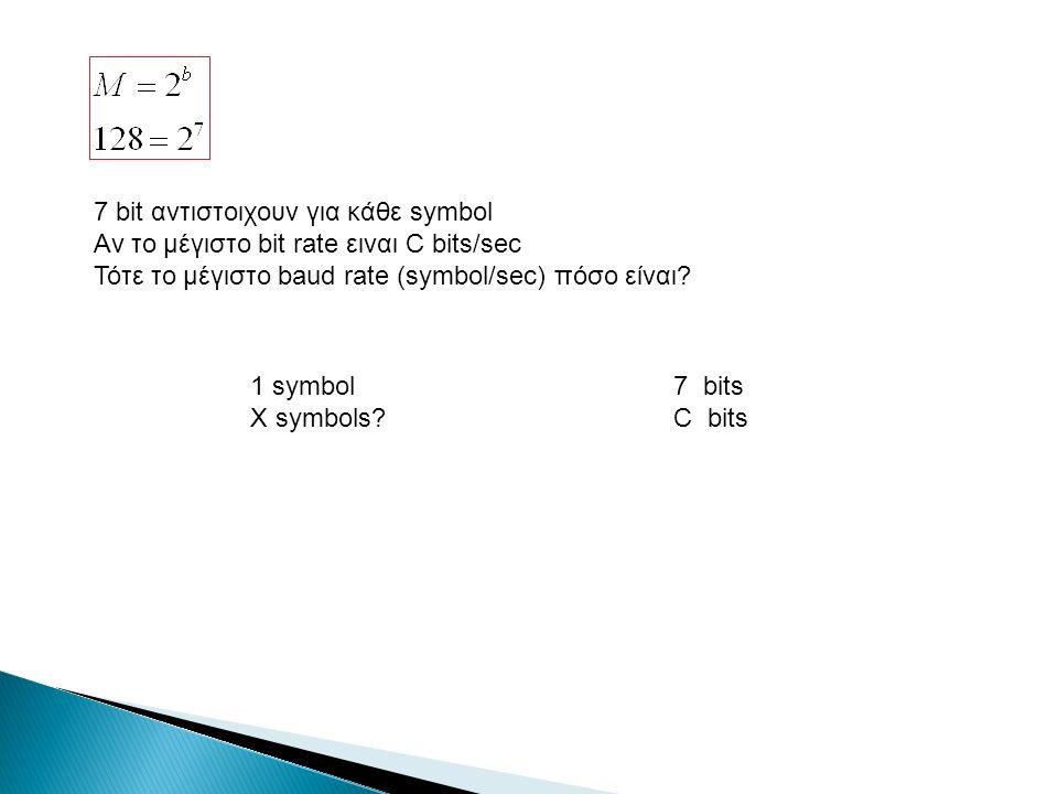 7 bit αντιστοιχουν για κάθε symbol Αν το μέγιστο bit rate ειναι C bits/sec Τότε το μέγιστο baud rate (symbol/sec) πόσο είναι.