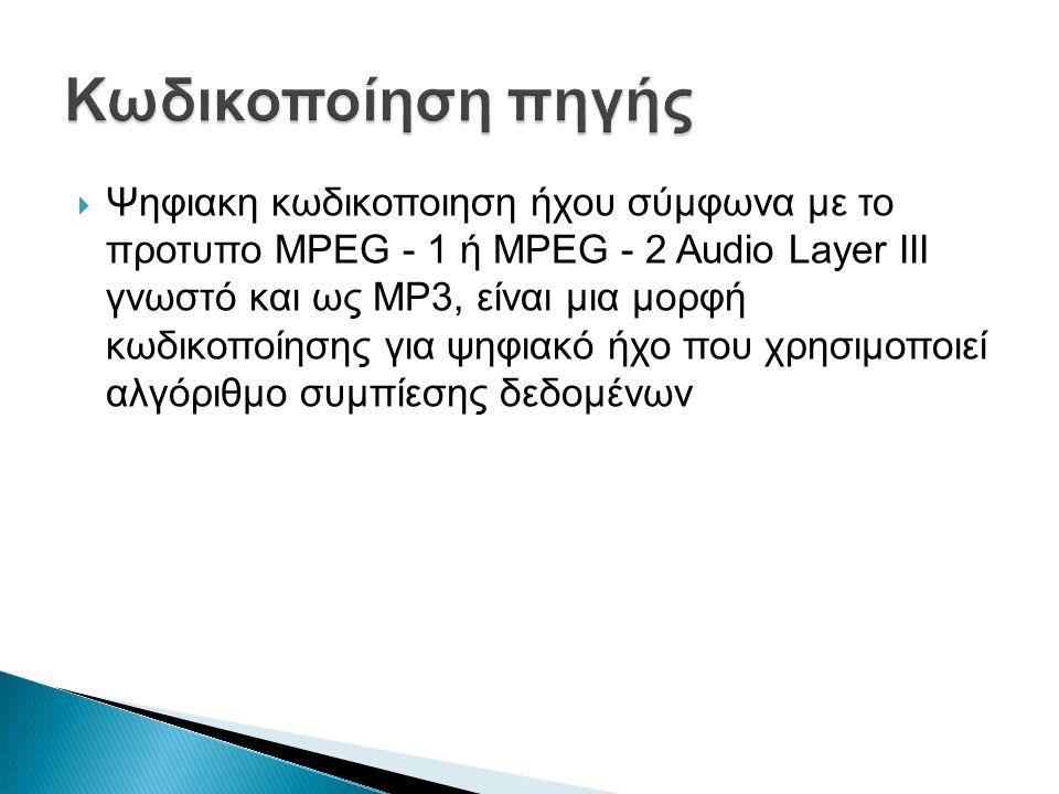  Ψηφιακη κωδικοποιηση ήχου σύμφωνα με το προτυπο ΜPEG - 1 ή MPEG - 2 Audio Layer III γνωστό και ως MP3, είναι μια μορφή κωδικοποίησης για ψηφιακό ήχο που χρησιμοποιεί αλγόριθμο συμπίεσης δεδομένων