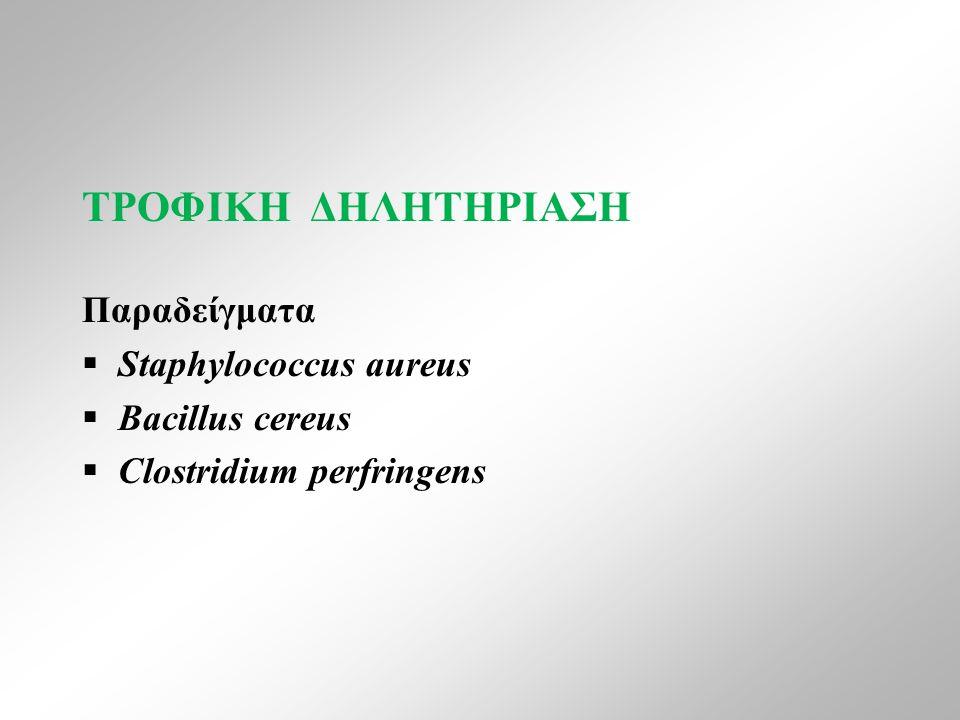 ΤΡΟΦΙΚΗ ΔΗΛΗΤΗΡΙΑΣΗ Παραδείγματα  Staphylococcus aureus  Bacillus cereus  Clostridium perfringens