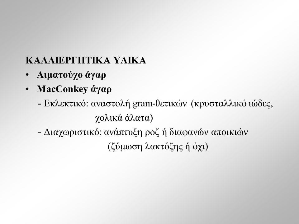 ΚΑΛΛΙΕΡΓΗΤΙΚΑ ΥΛΙΚΑ Αιματούχο άγαρ MacConkey άγαρ - Εκλεκτικό: αναστολή gram-θετικών (κρυσταλλικό ιώδες, χολικά άλατα) - Διαχωριστικό: ανάπτυξη ροζ ή διαφανών αποικιών (ζύμωση λακτόζης ή όχι)