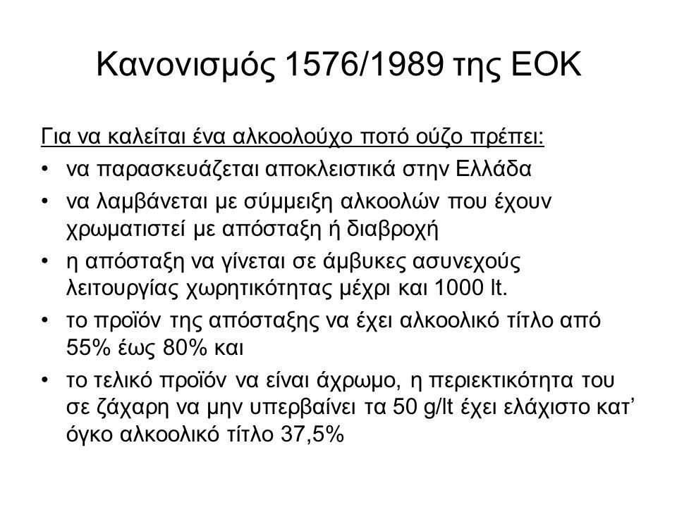 Κανονισμός 1576/1989 της ΕΟΚ Για να καλείται ένα αλκοολούχο ποτό ούζο πρέπει: να παρασκευάζεται αποκλειστικά στην Ελλάδα να λαμβάνεται με σύμμειξη αλκοολών που έχουν χρωματιστεί με απόσταξη ή διαβροχή η απόσταξη να γίνεται σε άμβυκες ασυνεχούς λειτουργίας χωρητικότητας μέχρι και 1000 lt.