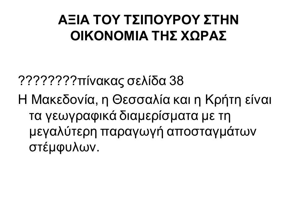 ΑΞΙΑ ΤΟΥ ΤΣΙΠΟΥΡΟΥ ΣΤΗΝ ΟΙΚΟΝΟΜΙΑ ΤΗΣ ΧΩΡΑΣ πίνακας σελίδα 38 Η Μακεδονία, η Θεσσαλία και η Κρήτη είναι τα γεωγραφικά διαμερίσματα με τη μεγαλύτερη παραγωγή αποσταγμάτων στέμφυλων.