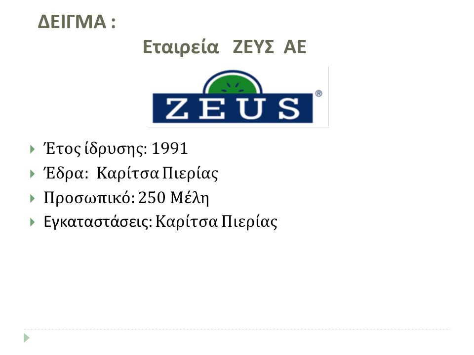  Έτος ίδρυσης: 1991  Έδρα: Καρίτσα Πιερίας  Προσωπικό: 250 Μέλη  Εγκαταστάσεις: Καρίτσα Πιερίας ΔΕΙΓΜΑ : Εταιρεία ΖΕΥΣ ΑΕ