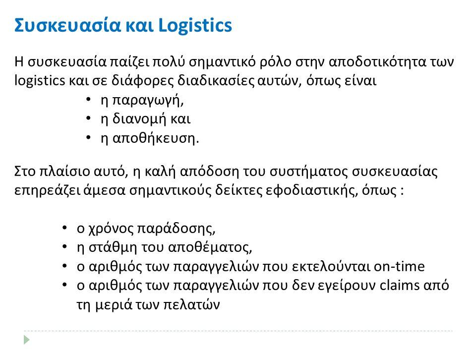 Συσκευασία και Logistics Η συσκευασία παίζει πολύ σημαντικό ρόλο στην αποδοτικότητα των logistics και σε διάφορες διαδικασίες αυτών, όπως είναι η παραγωγή, η διανομή και η αποθήκευση.