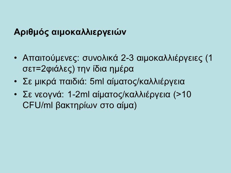 Αριθμός αιμοκαλλιεργειών Απαιτούμενες: συνολικά 2-3 αιμοκαλλιέργειες (1 σετ=2φιάλες) την ίδια ημέρα Σε μικρά παιδιά: 5ml αίματος/καλλιέργεια Σε νεογνά: 1-2ml αίματος/καλλιέργεια (>10 CFU/ml βακτηρίων στο αίμα)