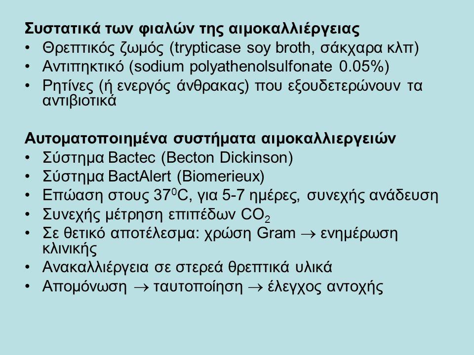 Συστατικά των φιαλών της αιμοκαλλιέργειας Θρεπτικός ζωμός (trypticase soy broth, σάκχαρα κλπ) Αντιπηκτικό (sodium polyathenolsulfonate 0.05%) Ρητίνες (ή ενεργός άνθρακας) που εξουδετερώνουν τα αντιβιοτικά Αυτοματοποιημένα συστήματα αιμοκαλλιεργειών Σύστημα Bactec (Becton Dickinson) Σύστημα BactAlert (Biomerieux) Επώαση στους 37 0 C, για 5-7 ημέρες, συνεχής ανάδευση Συνεχής μέτρηση επιπέδων CO 2 Σε θετικό αποτέλεσμα: χρώση Gram  ενημέρωση κλινικής Ανακαλλιέργεια σε στερεά θρεπτικά υλικά Απομόνωση  ταυτοποίηση  έλεγχος αντοχής