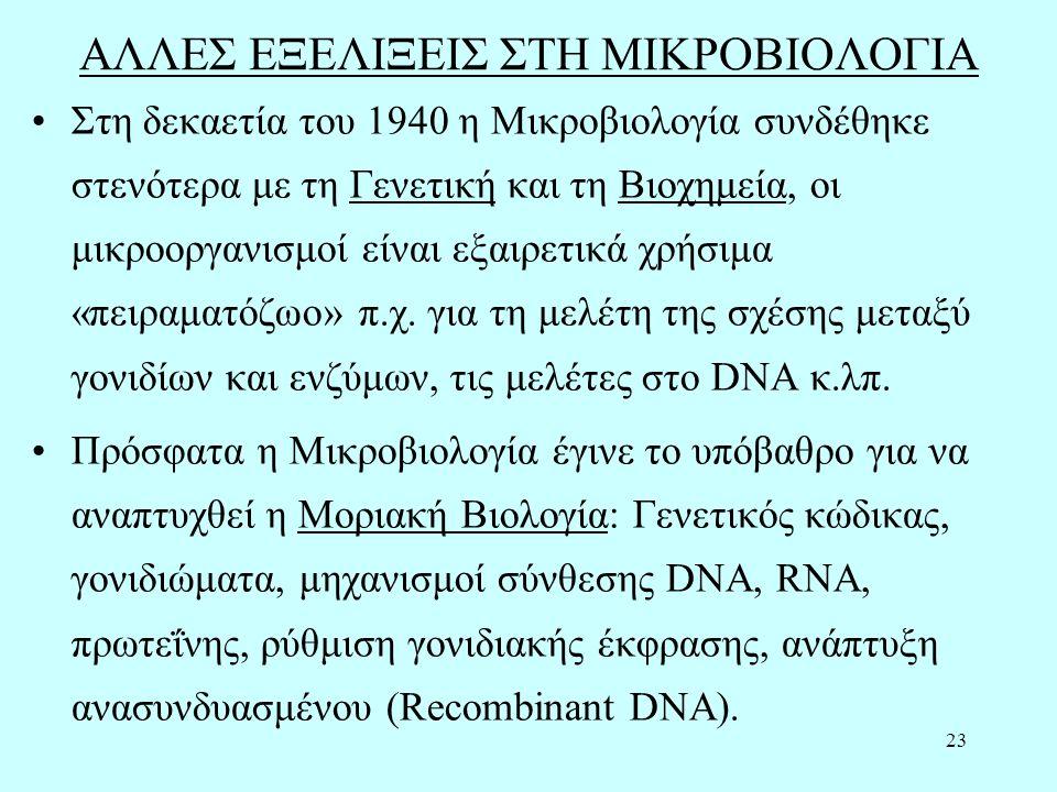 23 ΑΛΛΕΣ ΕΞΕΛΙΞΕΙΣ ΣΤΗ ΜΙΚΡΟΒΙΟΛΟΓΙΑ Στη δεκαετία του 1940 η Μικροβιολογία συνδέθηκε στενότερα με τη Γενετική και τη Βιοχημεία, οι μικροοργανισμοί είναι εξαιρετικά χρήσιμα «πειραματόζωο» π.χ.