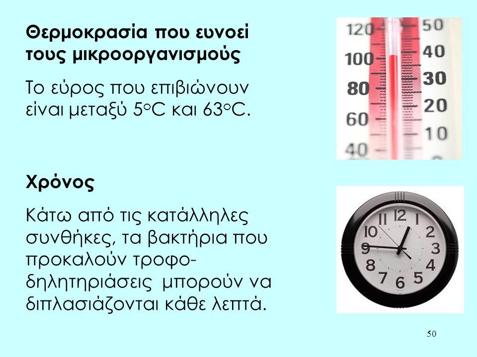 50 Θερμοκρασία που ευνοεί τους μικροοργανισμούς Το εύρος που επιβιώνουν είναι μεταξύ 5 o C και 63 o C. Χρόνος Κάτω από τις κατάλληλες συνθήκες, τα βακ