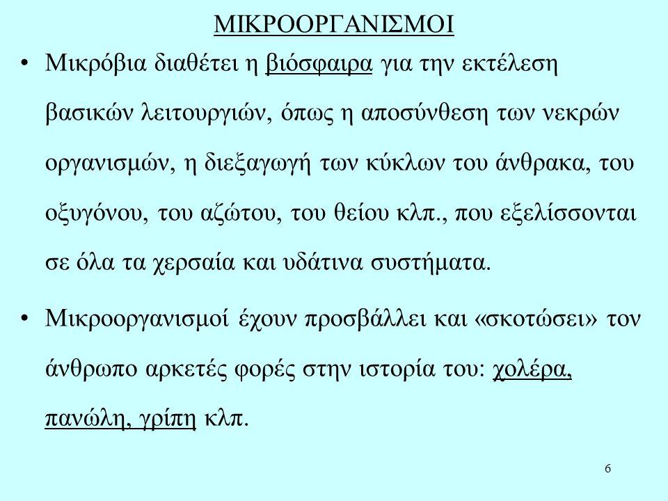 6 ΜΙΚΡΟΟΡΓΑΝΙΣΜΟΙ Μικρόβια διαθέτει η βιόσφαιρα για την εκτέλεση βασικών λειτουργιών, όπως η αποσύνθεση των νεκρών οργανισμών, η διεξαγωγή των κύκλων του άνθρακα, του οξυγόνου, του αζώτου, του θείου κλπ., που εξελίσσονται σε όλα τα χερσαία και υδάτινα συστήματα.