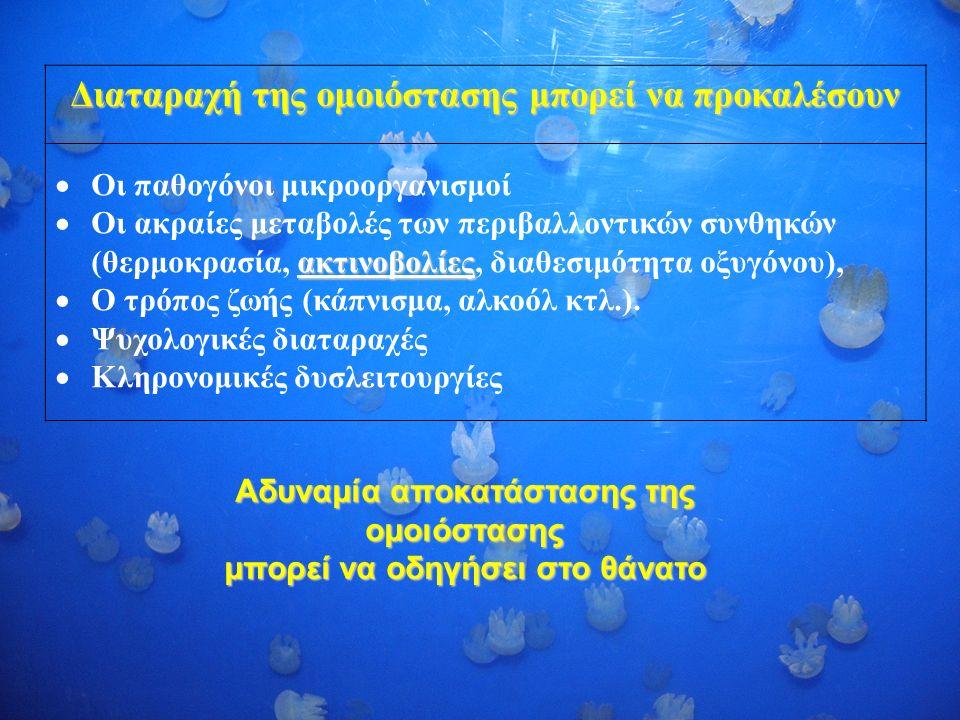 Διαταραχή της ομοιόστασης μπορεί να προκαλέσουν  Οι παθογόνοι μικροοργανισμοί ακτινοβολίες  Οι ακραίες μεταβολές των περιβαλλοντικών συνθηκών (θερμοκρασία, ακτινοβολίες, διαθεσιμότητα οξυγόνου),  Ο τρόπος ζωής (κάπνισμα, αλκοόλ κτλ.).