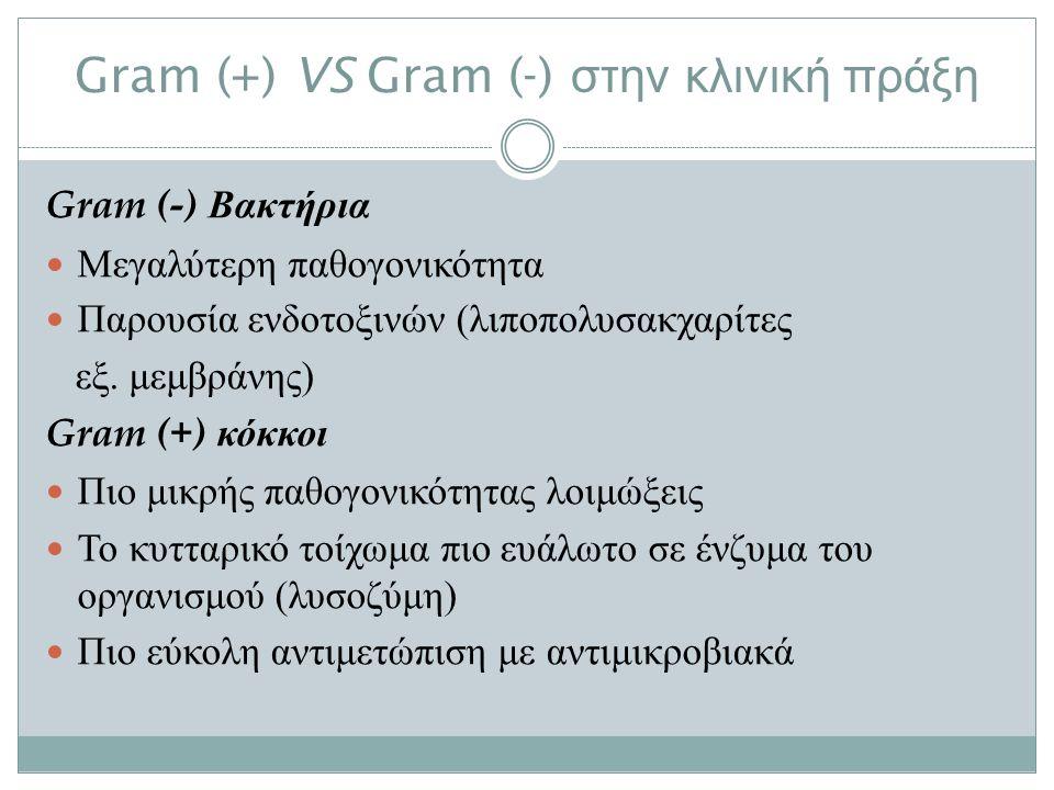 Gram (+) VS Gram (-) στην κλινική πράξη Gram (-) Βακτήρια Μεγαλύτερη παθογονικότητα Παρουσία ενδοτοξινών ( λιποπολυσακχαρίτες εξ.
