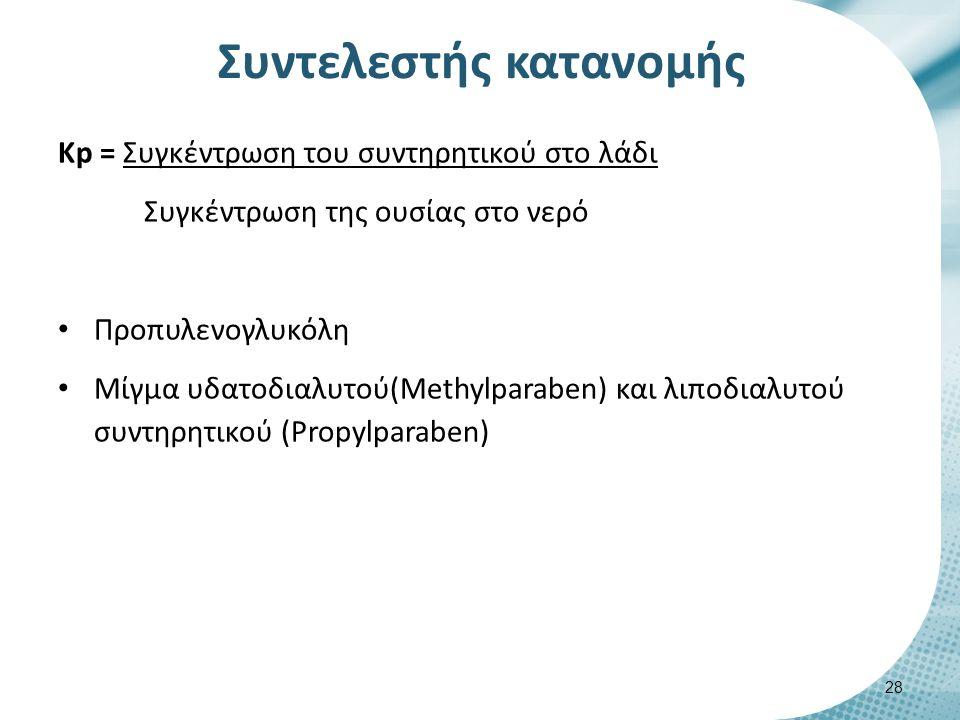 Συντελεστής κατανομής Κp = Συγκέντρωση του συντηρητικού στο λάδι Συγκέντρωση της ουσίας στο νερό Προπυλενογλυκόλη Μίγμα υδατοδιαλυτού(Μethylparaben) και λιποδιαλυτού συντηρητικού (Propylparaben) 28